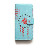 iPhone 6 Wallet Case Dreamcatcher iPhone 6s Wallet Geometric Blue iPhone 6 Wallet Boho Chic Bohemian W271