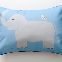 Elephant Bird Blue Pillow Cover 12 by 16 inch, Decorative Throw Pillow Cover, Cushion Cover, Sham