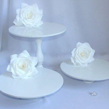 White display stand, Candy stand, cupcake platter, wedding desert table, cupcake tower, Cake table, Bridal or baby shower decor, Quinceanera