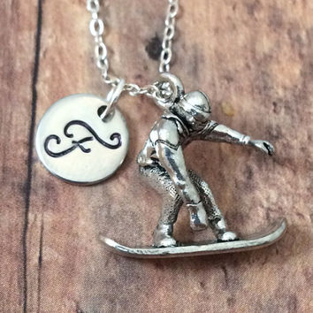 Snowboarder initial necklace - snowboard charm, silver snowboard necklace, hand stamped jewelry, initial necklace
