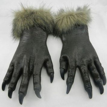 Scary Halloween Cosplay Horror Devil Werewolf Wolf Paws Claw Hand Gloves Monster Witch Costume