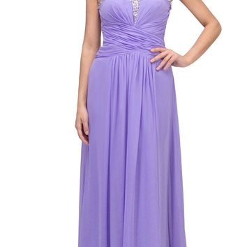 Studded Sweetheart Neck Lilac Long A Line Prom Strapless Gown