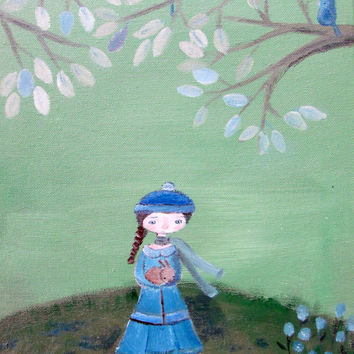 Little Girl Decor, Childrens Original Painting,Girl and Rabbits