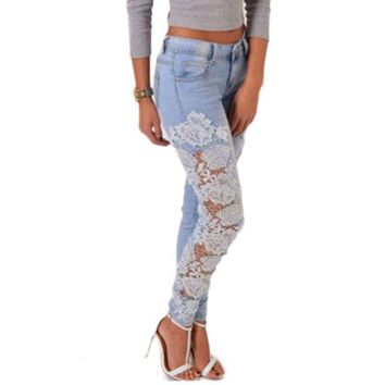 VONEHL5 Women Design Lace Embroidery Jeans