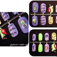 Invader Zim Nail Set by jihyeleeart on Etsy