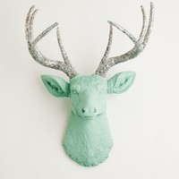 The Agnes - Seafoam W Silver Glitter Antlers Resin Deer Head