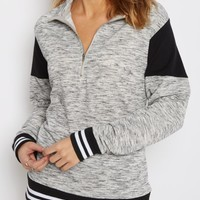 Black Color Blocked Quarter Zip Sweatshirt | Sweatshirts | rue21
