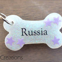 Stars and Glitter Bone Dog Tag - Personalized Custom Handmade Dog Pet ID