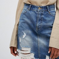 EVIDNT High Waist Destroyed Denim Mini Skirt at asos.com