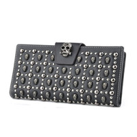 Women's Leather Card Holder Wallet Skull Designer Clutch Purse Black