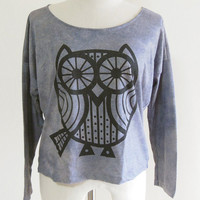 Owl Lined Animal Style Animal T-Shirt Long Sleeved T-Shirt Violet T-Shirt Screen Print Size M