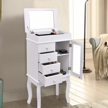 Mirrored Jewelry Cabinet Armoire Storage Chest