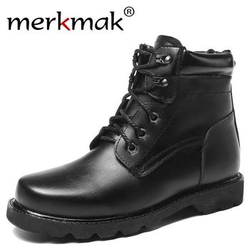 Merkmak Warm Thick Wool Men Winter Boots Size 38~48 Genuine Leather Russian Style Snow Military Army Boots Waterproof Anti-skid