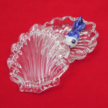 Clear Glass Shell Trinket Dish with Lid, Vintage Clear Glass Shell Box, Mother's Day