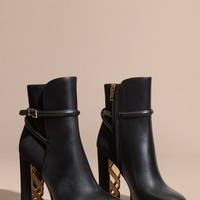 Strap Detail Leather and Suede Ankle Boots Black