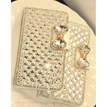 Luxury Rhinestone Bejeweled Leather Wallet Phone Case For Samsung