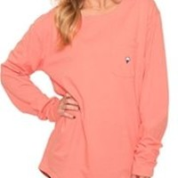 Southern Shirt Company Kimmy Boatneck T-Shirt in Pink Salmon PS-KIMMYBOAT-LS