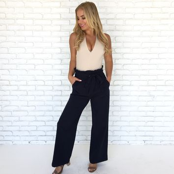 Boardroom Trouser High Waist Pants in Navy