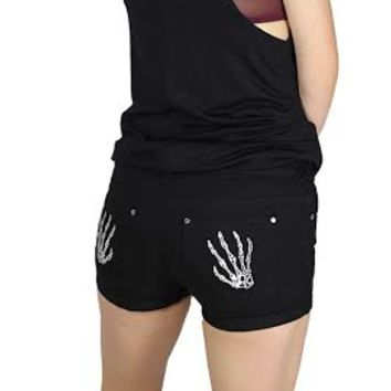 Skeleton Hands Cuffed Shorts