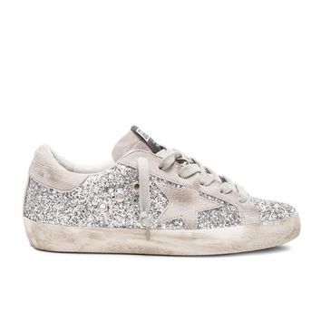 Golden Goose Super Star Silver Glitter Sneakers