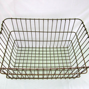 Wire Crate Heavy Duty Wire Basket Industrial Decor Rustic Storage Organizer