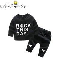 Newborn clothes baby girl clothes toddler boys clothing long sleeve tshirt rock printed newborn clothing set cotton clothes