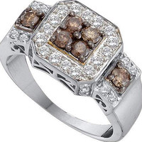 Cognac Diamond Ladies Fashion Ring in 14k White Gold 1 ctw
