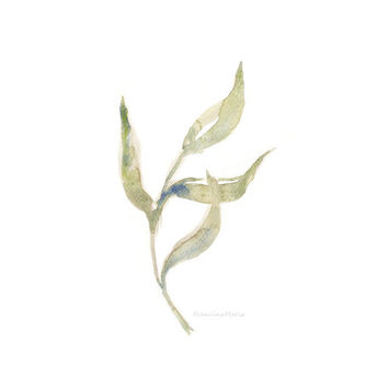 Dancing leaf, watercolor painting art A5 giclee print nature inspired minimal garden