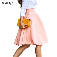 Sikilely Easy Matching Skirt Simple A Line Big Volume 2017 Autumn Formal OL Lady's Work Skirt Business Knee Length Discount