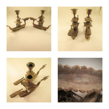 Pagoda Dragon Candlesticks Chinese Vessel Brass Metal Art Decorative Collectible WWII Era Home Decor