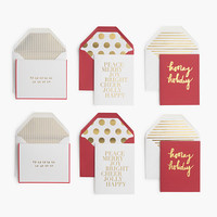 Sugar Paper For J.Crew Red-And-Gold Holiday Note Set