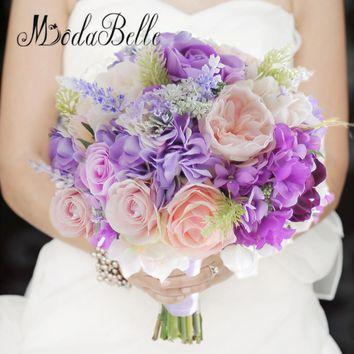modabelle bridal bouquet purple wedding bridesmaid bouquet dde mariee 2017 artificial pink rose hydrangea silk hand - Garden Rose And Hydrangea Bouquet