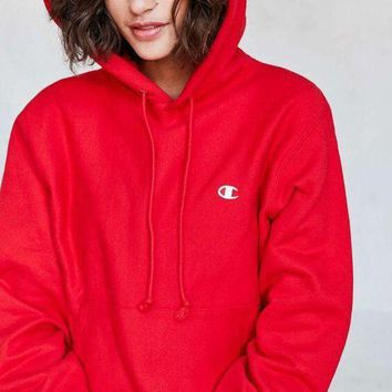 Champion Fashion Casual Trending Sport Hoodie Drawstring Top Sweater Sweatshirt Red G