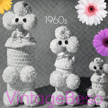 Crochet Pattern Vintage - 1960s Poodle Liquor Bottle Covers come in 3 different sizes Dog Lovers Party Gift - Retro Crochet Instant Download