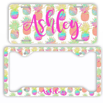 Pineapple Glitter Watercolor License Plate Car Tag Monogram Frame Personalized Set Custom Initials Car Coasters