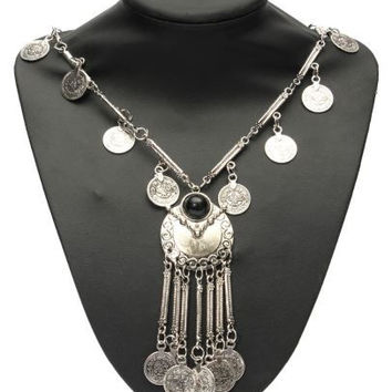 Vintage Look Turkish Gypsy Tribal Coin Long Necklace