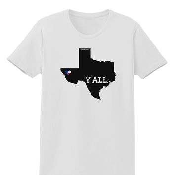 Texas State Y'all Design with Flag Heart Womens T-Shirt by TooLoud