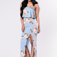 Simply Floral Dress - Slate