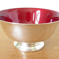Red enameled silver Paul Revere bowl by Reed and Barton