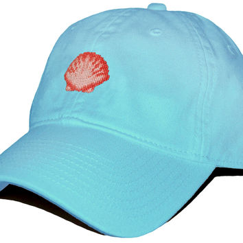 Scallop Shell Needlepoint Hat in Glacier Blue by Smathers & Branson