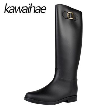 PVC Knee High Women Boots Rubber Shoes Female Waterproof Rainboots Kawaihae Brand Knig