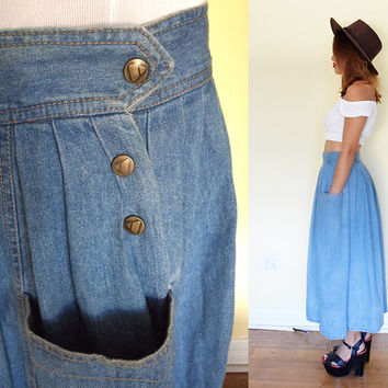 Vintage full skirt denim jeans high waisted oversized pockets maxi blue