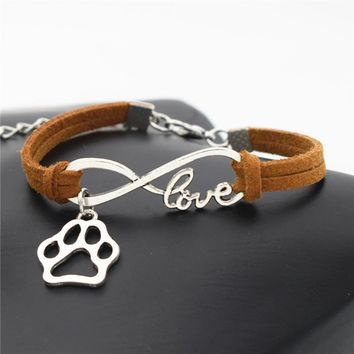 Stylish Personalized Antique Silver Bear Paw Charms Pendant Leather Infinity Love Bracelet