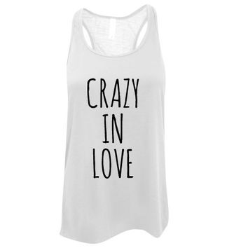 Custom Ink Colors, Crazy In Love, Flowy Racerback, Bachelorette Party Tank Top, Bridal Party Tank Top, Bridal Top, Wedding Top