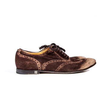 Brown/Tan Suede Wingtip Shoes Size:41 1/2