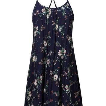 LE3NO Womens Floral Racerback Adjustable Spaghetti Straps Sleeveless Summer Dress