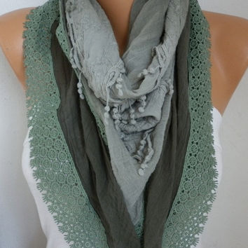 Sage Green Ombre Scarf, Fall Winter,Oversize Scarf,Cowl Scarf Gift Ideas for Her Women Fashion Accessories,christmas gift