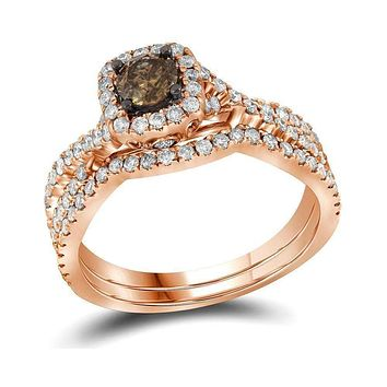 14kt Rose Gold Women's Round Cognac-brown Diamond Bridal Wedding Engagement Ring Band Set 1Cttw - FREE Shipping (US/CAN)