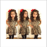 Girls Sleeveless Leopard Print Dress