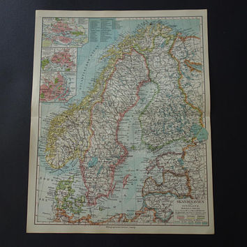 "SCANDINAVIA old map of Sweden Norway 1926 antique print Finland original vintage maps Copenhagen Oslo Stockholm 9x10"" small poster"